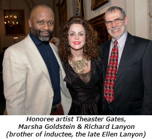 Honoree artist Theaster Gates Marsha Goldstein and Richard Lanyon brother of inductee the late Ellen