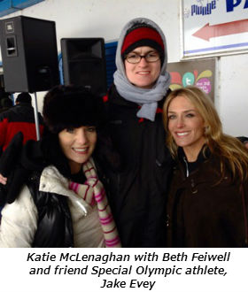 Katie McLenaghan with Beth Feiwell with their friend Special Olympic athlete Jake Evey (post plunge)