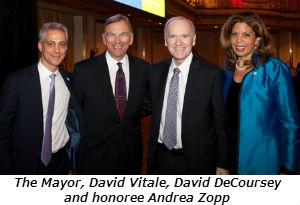 The Mayor David Vitale David DeCoursey and honoree Andrea Zopp