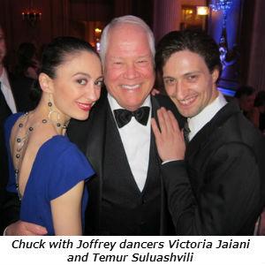 Chuck with Joffrey dancers Victoria Jaiani and Temur Suluashvili