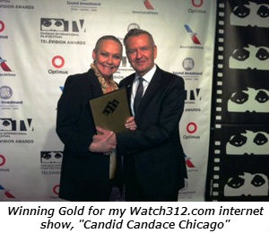 Winning a gold plaque for my Watch312.com internet show.