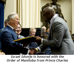 Israel Idonije is honored with the Order of Manitoba from Prince Charles