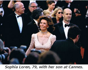 Sophia Loren 79 with her son at Cannes.