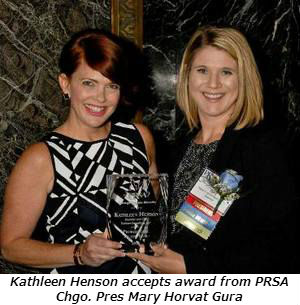 Kathleen accepting her award from PRSA Chicago President Mary Horvat Gura