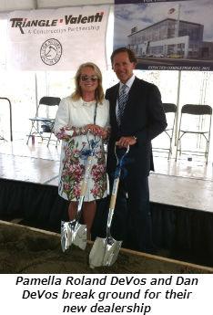 Pamella Roland DeVos and Dan DeVos break ground for their new dealership
