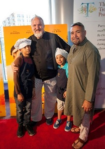 Chef Art Smith and Jesus Salgueiro with sons, Angel and Brando
