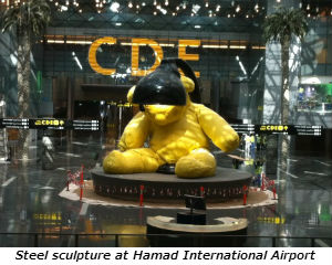 Steel sculpture at Hamad International Airport