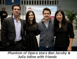 Phantom of Opera stars Ben Jacoby and Julia Udine with friends