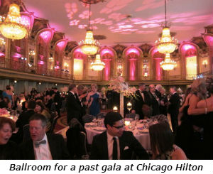 Ballroom for a past gala at Chicago Hilton