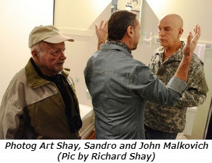Photog Art Shay Sandro and John Malkovich Pic by Richard Shay