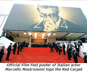 Official Film Fest poster of Italian actor Marcello Mastroianni tops the Red Carpet