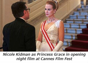 Nicole Kidman at Princess Grace in opening  night film at Cannes.