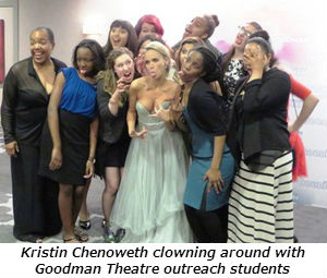 Kristin Chenoweth clowning with Goodman Theatre outreach students