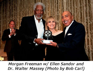 Morgan Freeman with Ellen Sandor and Dr Walter Massey-photo by Robert Carl
