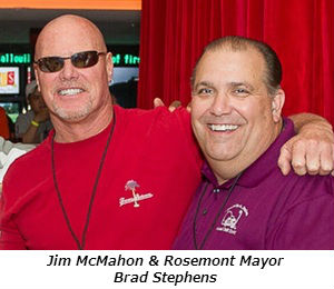 Jim McMahon and Rosemont Mayor Brad Stephens  Photo credit_ Sonya Martin