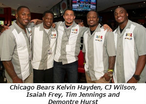 Chicago Bears Kelvin Hayden, CJ Wilson, Isaiah Frey, Tim Jennings and Demontre Hurst. Photo credit_ Sonya Martin