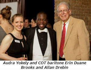 COT staff member Audra Yokely stands with COT baritone Errin Duane Brooks and Allan Drebin - Photo Credit David Turner Photography