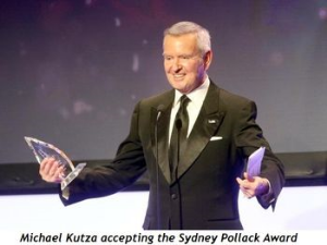 Michael Kutza receiving the Sydney Pollack Award