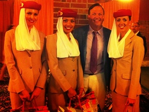 Paul Iacono with new Emirates friends.