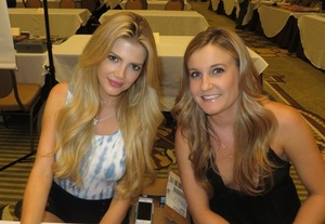 Miss August 2014, Stephanie Branton (L) and friend.