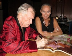 Hef signing my magazines (cover and a centerfold)
