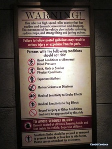 "Scary instructions for the ""Escape from Gringott's"" ride!"
