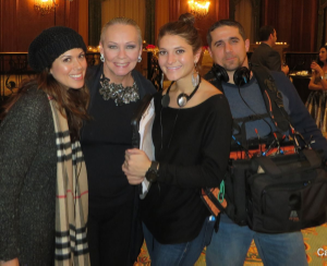 """With the Steve Harvey Show's Dimitra Apostolopoulos and Ali Galante taping the first """"My Fair Lady"""" segment"""