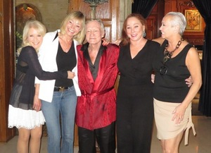 With Alison Reynolds, Monique St. Pierre, Hef and Patti Connors.