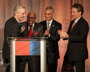 Brian Moynihan, Walter Massey, Mayor Emanuel and Tim Maloney