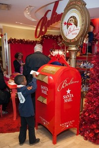"All Macy's stores have ""Believe Stations"" for kiddies' letters."
