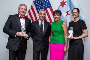 Chris Crane, Mayor Rahm Emanuel; Penny Pritzker and Anne Pramaggiore