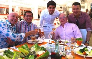 At La Piaggia Beach Club with Michel Desjardins, Pepe Conforme, Ken Norgan, Pierre Desy and friend