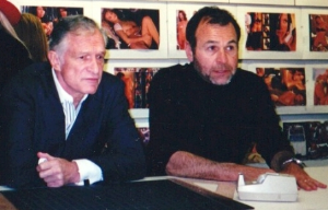 Hugh Hefner and Jeff Cohen in the editing room