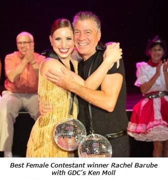 Best Female Contestant winner Rachel Barube with GDC's Ken Moll