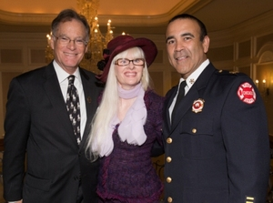 Joe Ahern, Lauren Lein, Fire Commissioner Jose Santiago