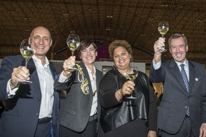 Tony Karman (pres./director EXPO Chicago), Madeleine Grynsztejn (MCA Chicago's Pritzker Director), Michelle T. Boone (Commissioner of Cultural Affairs), and Mac MacLellan (Northern Trust Exec. VP Wealth Mngmt.)