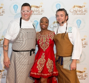 Chef Graham Elliot and Matthias Merges with Rochelle Trotter