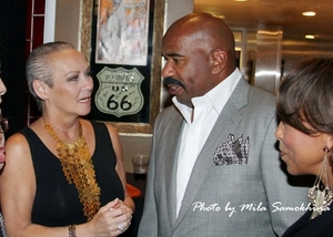 Talking to Steve Harvey and his wife Marjorie at his Launch Party at Hard Rock. (Pic by Mila Samokhina)