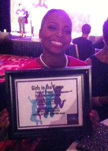 Honoree Rochelle Trotter with her plaque