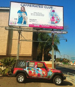 Aubree Connors' Caffeinated Club billboard in LA!